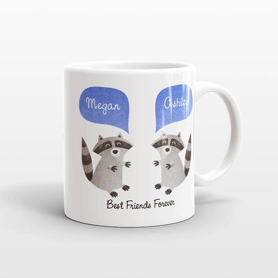 Best Friend Gift, Raccoon Mug, Personalized Best Friend Mug, Animal Best Friend Coffee Mug, Unique Friendship Gift Best Friend Birthday Gift