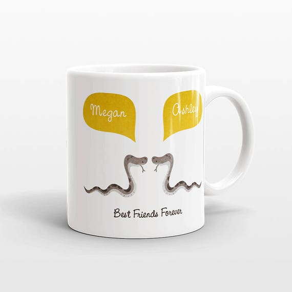 Best Friend Gift, Snake Mug, Personalized Best Friend Mug, Animal Best Friend Coffee Mug, Unique Friendship Gift Best Friend Birthday Gift