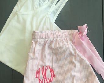 Seersucker PJ shorts and Tank
