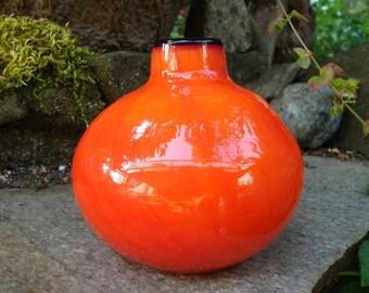 Bright Orange Hand Blown Glass Bud Vase - Bud Vase - Hand Blown Glass Vase - Orange Bud Vase - Orange Glass Vase -  Posy Vase
