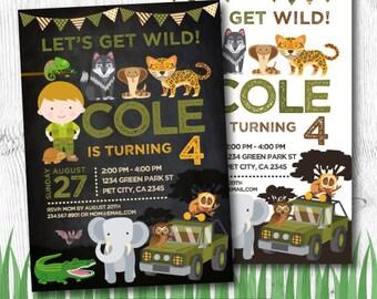 Safari Birthday Invitation, Jungle Invitation, Zoo Birthday Invitation, DIGITAL, 2 Options