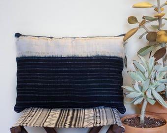 Vintage Indigo Dye Hmong Hemp Lumbar Pillow