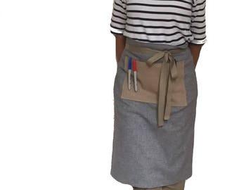 GREY CAFE APRON, canvas apron with pocket, mens apron, cotton apron, man apron, grilling apron, rustic apron, bbq apron, work apron