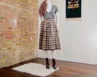 metallic pleat midi / pleated skirt / midi / houndstooth / metallic skirt / full skirt / 80s / copper skirt / silver skirt / gold skirt
