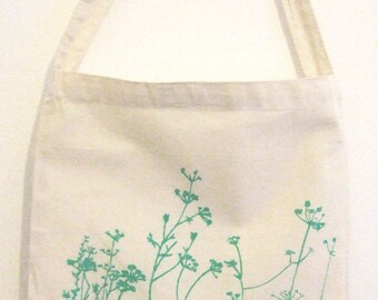 SALE Meadow organic cotton bag with long shoulder strap hand printed bright green print