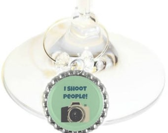 Photographer Wine Glass Charm - I Shoot People