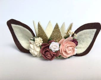NEW || Fawn Crown || Woodlands Collection || mini gold glitter felt crown || birthday crown || photo prop || baby crown || newborn - child