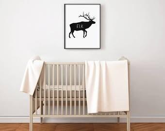 Canadian Animal Nursery Art PRINTABLE - Elk - Deer - North American - Minimalist Decor - Silhouette - Baby Shower - Photo Prop - SKU:5449