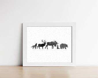 PRINTABLE Art - Woodland Animals - Minimalist Art - Nursery Room Decor - Horizontal - Grey and Black - Rustic Art - Kids Decor - SKU:5012