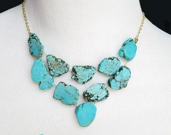 Turquoise Pendant Necklace - Turquoise Statement Necklace- Turquoise Charm Necklace - Turquoise Layer Necklace- Bridesmaid- Wedding Necklace
