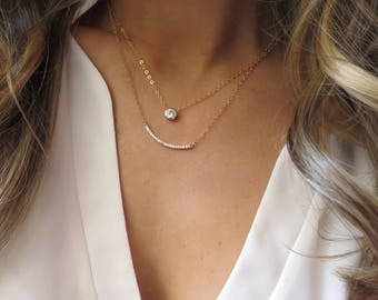 CZ Layered Necklace, CZ Bar Necklace, Gold CZ Pendant, Gold Bar Necklace, Solitaire Pendant, Dainty Gold Layer Necklace, Simple Gold