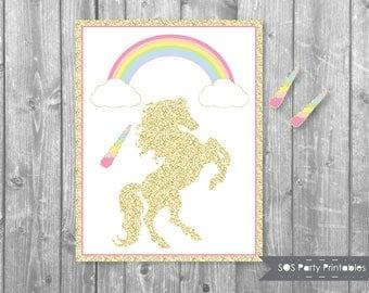 Pin the Horn on the Unicorn, Glitter Unicorn Game, Rainbow, Magical Unicorn Birthday, Printable Party Game, Unicorn Birthday Activity