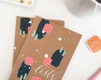 "Lists mini journal | Hand-painted 3.5"" x 5.5"" notebook  