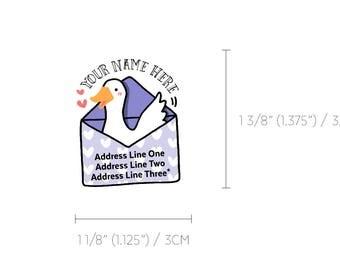 Lovely Duck Kawaii Violet Heart Snail Mail Custom Mailing Address Labels
