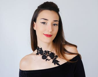 Vintage Gift Statement Necklace Black Necklace Lace Necklace Anniversary Gifts For Bride Girlfriend Gift For HerInspirational/ LASATA