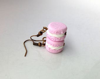 French Macaron Earrings Polymer Clay Miniature Food Jewelry [Jewellery] Macaron Food Earrings