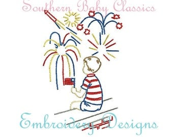 Vintage Stitch Patriotic Boy Watching Fireworks Fourth of July Memorial Day File for Embroidery Machine Instant Download Independence Day