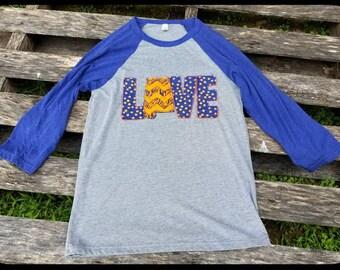 Auburn Shirt, Alabama State Shirt, Auburn Embroidered Shirt, Love Embroidered Shirt, Raglan Tee, Auburn Tee, War Eagle, Auburn Tee