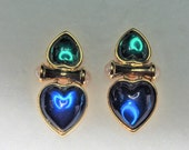 Joan Rivers Double Heart Earrings - Clip Ons in Blue  - S2262
