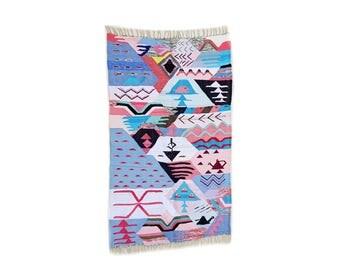 "77""X47"" Handwoven moroccan kilim rug, boucherouite rug, handmade rug, geometric pattern, colorful rug, chic ethnic, moroccan decor"