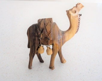 Olive Wood Camel Bethlehem Religious Collectible Vintage Figure Made in Israel