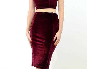 SPECIAL EDITION Vampy Red Velour Panelled Pencil Skirt with Hight Waist. Mid Length Bodycon Skirt with Pleat Detail, Christmas Party Outfit