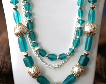 Teal and Silver Glass Bead Necklace Set, Teal Silver and Pearl Glass Beaded Three-Strand Boho Necklace, Turquoise and Silver Beaded Necklace