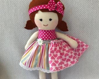 """Rag doll, handmade, fabric doll handmade, cloth doll, soft doll, dressed doll, child friendly, doll for play, dolls clothes, 14""""/35cm"""