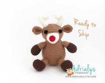 Crochet Reindeer, Reindeer Stuffed Animal, Reindeer Plush, Reindeer Amigurumi, Handmade Reindeer, Crochet Toy- Ready to Ship