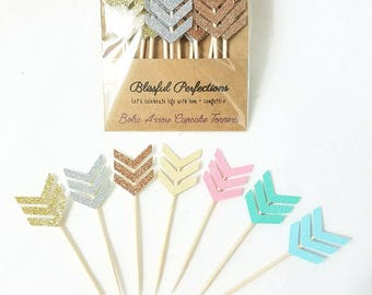 Boho Party - Arrow Cupcake Toppers, Arrow Toppers, Boho Party Decorations, Boho Toppers, Wild One Birthday, Boho Birthday, Wild One Topper