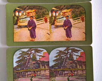Cool Kyoto Timeless Travel Antique Stereopticon Stereoscope Stereo Viewer Slide Card --- Vintage Japanese Culture Asia History Photograph