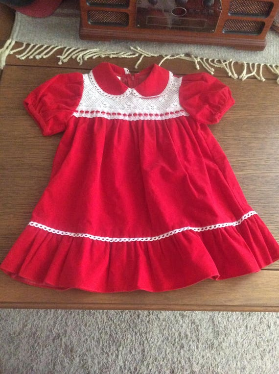 Vintage Sears Winnie The Pooh red velour dress, 4T Christmas red velour dress, vintage 1970's Winnie The Pooh brand Sears and Roebuck dress