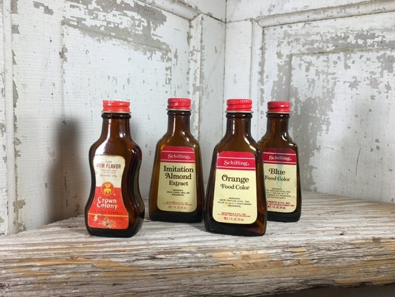 Super four bottle lot of vintage brown extract bottles, great kitchen decor, Schilling and Crown Colony amber glass bottles, baking decor