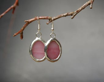pink dangle earrings, gift women, everyday glass earrings, bohemian jewelry, romantic earrings