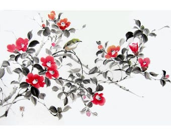 Ink Painting Japanese Watercolor Ink art Sumi-e Asian art Suibokuga Ink on paper Flower and birds Large Red Camellia with White eye bird