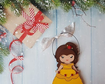 Belle Christmas Ornament, Disney Princess, Elsa, Anna, Cinderella, Rapunzel, Jasmine, Snow White, Aurora, Moana, Tiana, Ariel, Merida, Mulan
