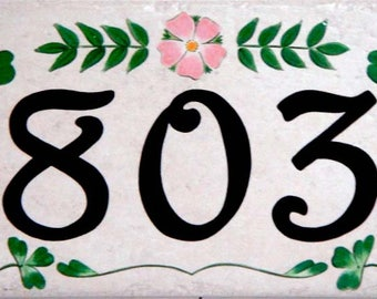 Irish clover, shamrock house number plaque, ceramic house numbers, house numbers, shamrock, clover, St Patricks day gift, green house number