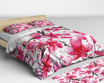 Pink Floral Bedding, Pink Bedding, Pink Bed Linen, Pink Duvet Cover, Spring, Cherry Blossom Print, Japanese Cherry, Japanese Decor