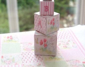 dollhouse toy wooden building blocks x 4  nursery shop doll toy easter shabby  12th scale