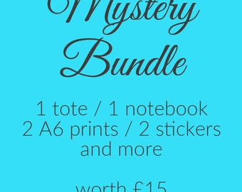 Bookish Stationery Mystery Bundle: 1 Tote Bag, 1 Notebook, 2 A6 Prints, 2 Sticker Sheets & More