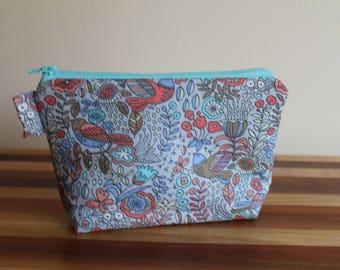 Small Floral & Bird Zip Bag