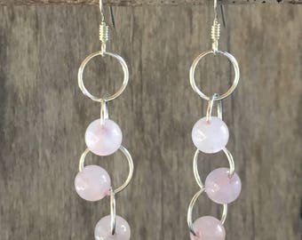 Rose Quartz Cascading Circles Earrings, sterling silver, mind/body/spirit, unconditional love, hand-crafted