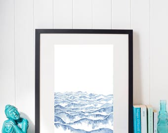 Watercolor Waves Downloadable Art Print - Instant Digital Download - Nature Art Print - 3 Sizes Included
