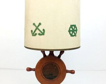Vintage Nautical Sailing Clipper Ship Wood Wheel Helm Table Lamp w Anchor Shade