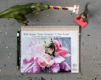 2018 Funny Wall Calendar • T. Rex 12Month Calendar •Gift for Dinosaur Lover • Christmas Gift Under 25 • Animal Tales Calendar •Trex Art