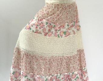 SK0010 Flora Sweet Pink Handmade Maxi Skirt for Beach Summer