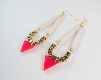 Rose Quartz Neon Pink Triangle Earrings