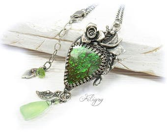 Ammolite, Peridot, Chalcedony 935 Silver Necklace  with VIDEO