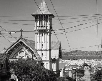 Black and White Photography, San Francisco California, Steiner Street, St Vincent De Paul Church, San Francisco Black & White Photo