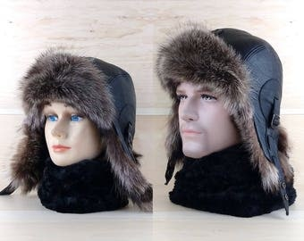 Size: M, Men/Women Ushanka, Fur Trapper Hat, Aviator Hat, Bomber hat, Russian Hat, Real Black Leather, Recycled Raccoon Fur CA11b